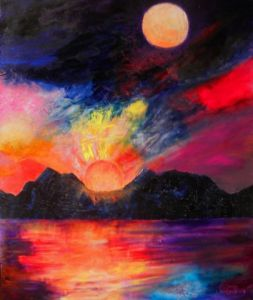 Peinture de fleurs balisier peinture huile au - Heure de lever et coucher de la lune ...